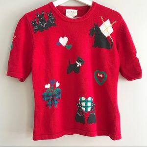 Vintage 90s red Scottie dog argyle sweater Bristol
